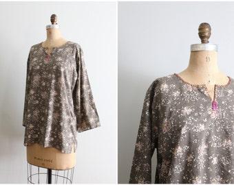 soft India batik cotton tunic top - beaded bohemian blouse / mushroom brown top - boho shirt / 70s cotton top - vintage hippie tunic