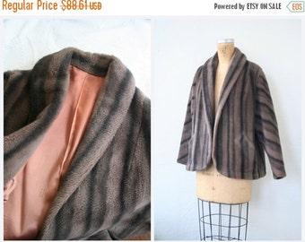 SALE / elegant 1950s faux fur ladies winter coat - striped fur jacket / Dusty Coral - 50s faux fur bridal coat - Old Hollywood glamour
