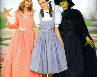 Simplicity 4136/0854 Pattern Wizard of Oz Dorothy, Good & Bad Witch, Glenda Plus Size 14, 16, 18, 20 and 22