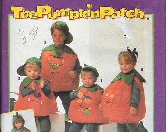 Simplicity 8577 Child's Pumpkin Costume Sewing Pattern And Transfer UNCUT Size S, M, L