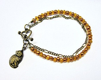 Bronze Chain Bronze Glass Bead Bracelet With Cat Charm