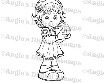 Daisy May With A Cupcake Digital Stamp Image