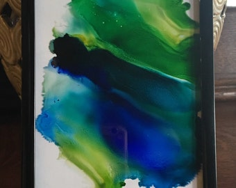 Abstract ink painting; framed alcohol ink art; abstract acohol ink art