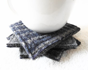 Wool Coasters GRAY & BLUE Rustic Coasters / Upcycled Mug Rugs / Felted Wool Coasters / Blue Coasters Handmade by WormeWoole