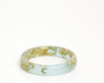size 7 | thin smooth stacking eco resin ring | sea glass green with gold metallic flakes | gold flakes