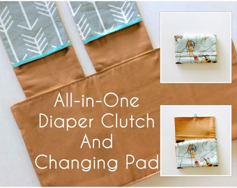 MADE TO ORDER All-in-One Diaper Clutch and Changing Pad, Wild West Print/Arrow diaper clutch and changing pad