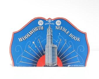 Vintage Woolworth Needle Book, 1950s midcentury sewing notions, New York City Woolworth Building, paper ephemera, blue, red, Western Germany