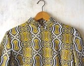 Vtg 1960s-1970s mod psychedelic groovy polyester dress / op art / long sleeve A-line / collared