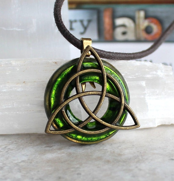 green triquetra necklace mens necklace mens by naturewithyou