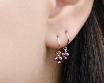 Purple Garnet Dangle Earrings, Sterling Silver, Gold Plated, Pendulum Earrings, Minimalist Drop Earrings, Bithstone, Gift for Mom, DGE001PGR