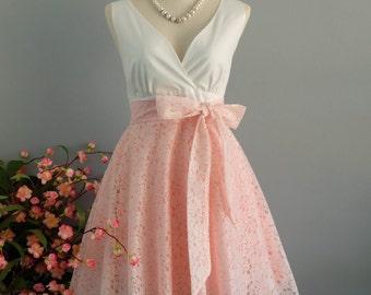 White dress pink dress pink lace dress pink bridesmaid dresses lace bridesmaid dresses v neck dress pink lace sundress pink party dress