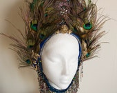 Blue and Gold 'Golden Wing' Peacock Eye Feather Couture Statement Crown Headdress