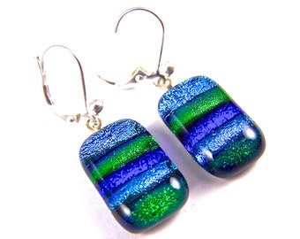 Dichroic Earrings - Striped Emerald Green Bright Sky & Sapphire Blue Skinny Rainbow - EuroWire Lever Leverback Dangle or Convert to Clip-On