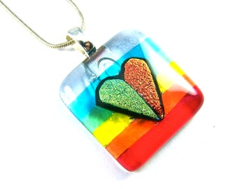 "Dichroic Glass Heart Pendant - Rainbow Striped Yellow Gold Orange Red Green Blue Silver Stained Glass Fused - 1"" 25mm Square"