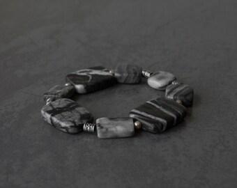 Grey marble stone beaded bracelet. Sterling silver beaded bracelet. Chunky stone bracelet. Modern style stone jewellery. Grey bracelet.
