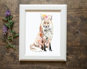 Fox art print, fox art, baby room, toddler room, flower crown