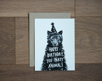 Happy Birthday card - birthday bear - illustration -  party animal  - hand lettering