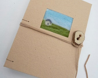 Icelandic house, A6,  journal, notebook, felted miniature, Iceland, house