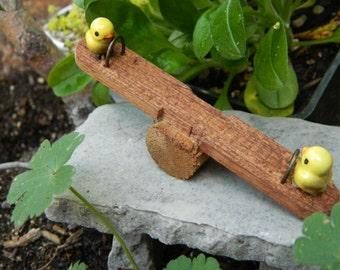 Fairy Garden Miniature Teeter Totter with Baby Chicks for Miniature garden or Terrarium