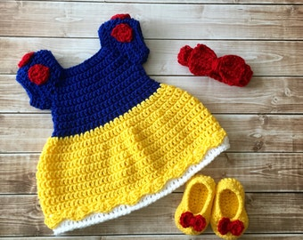 Princess Snow White Inspired Costume/Crochet Princess Snow White Dress/Snow White/Princess Photo Prop Newborn to 12 Months- MADE TO ORDER
