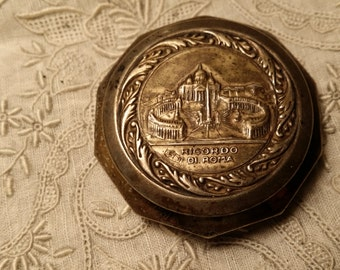 NICE Little Embossed Silvertone Box Ricordo Di Roma VINTAGE