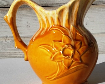 Yellow Gold Drip Pitcher Home Decor Ceramic Container Flower Design Decorative Japan Cottage Chic