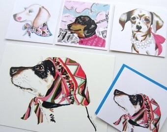 Dachshund Print and 4 Greeting Card Set - Sausage Dog Print -Pet Illustraion - 8 x 11 inch print - 4 x square greeting card set