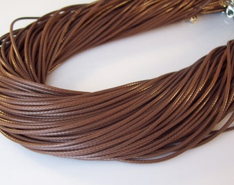 "100 LIGHT BROWN Cord Necklaces 17-19"" inch 2mm"