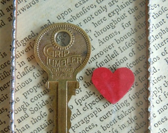 Fiona & The Fig  Key To My Heart - VINTAGE KEY - Silver Soldered-Mini Sun Catcher - Door Knob Hanger