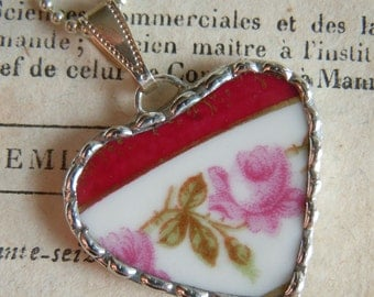 Fiona & The Fig Victorian Era-Broken China Soldered Necklace Pendant Charm-Jewelry-PINK ROSES