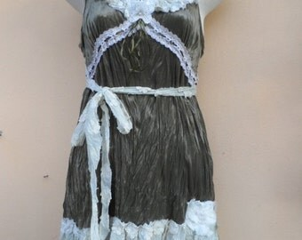 """20%OFF velvet dress with cotton ruffle and shabby roses...smaller to 36"""" bust"""