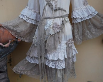 """20%OFF bohemian gypsy lagenlook  gothic tiered hippy cotton dress..medium to 46"""" bust..."""