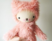 Kawaii Teddy Bear Stuffed Animal in Shag Papaya Faux Fur Large