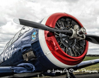 T-6 Texan aviation art photography, airplane decor, vintage flying, SNJ, pilot gift, airplane photo, engine, propeller, boys room