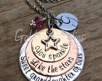 Custom Hand Stamped Granddaughter Gift Keepsake, Sparkle like the Stars