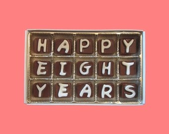 8th Anniversary Gift Husband Gift from Wife Couple Men Women Him Her Happy 8 Years Eight Cubic Chocolate Letters Message Romantic Cute Cool