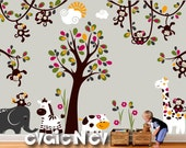 Jungle Animals Nursery Wall Decal - Monkeys swinging on vines  - Monkeys, Elephant, Hippo, Zebra & Large Tree, Branches and Vines - PLMC050L