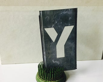 Vintage zinc Stencil Letter Y Home Decor Repurpose Alphabet nursery decor