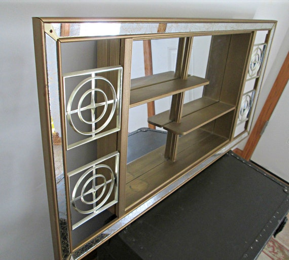 Vintage Atomic Mirror Shadowbox Mcm Mirrored Wall Curio