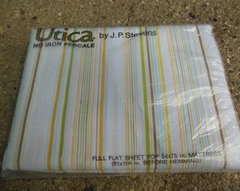 Stripe Full Flat Sheet, Old Stock, NIP, By Stevens Utica
