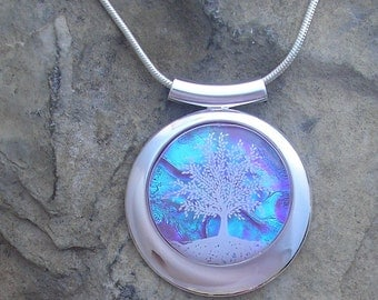 Purple and Silver Tree of Life Necklace Dichroic Fused Glass Tree Pendant