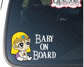 """Legend of Zelda Inspired Baby Zelda """"BABY ON BOARD"""" Vinyl Car Decal Sticker"""