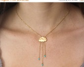 15 OFF. Rain cloud necklace  English Rain. Gold cloud necklace.  Turquoise rain necklace with tiny turquoise beads