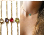 20 off. Choker necklace.  bezel stone necklace, in gold or silver. Tiny square crystal quartz.  choice of colors. Adjustable length