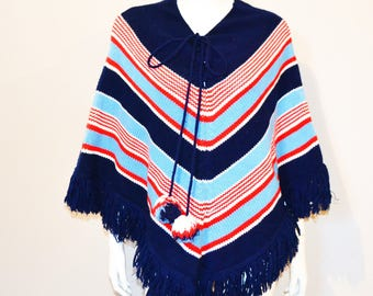 Vintage Poncho with Fringe and Stripes 70s Mod