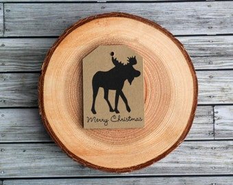 Moose Merry Christmas Rustic Gift Tags