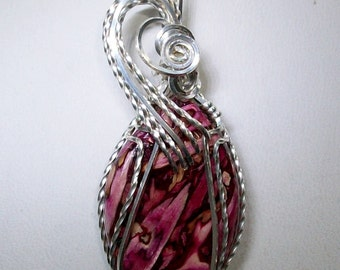 Red Tumbleweed Pendant Wrapped in Sterling Silver Filled Wire