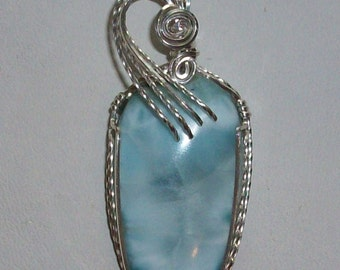 Larimar Pendant Wrapped in Sterling Silver Wire
