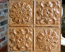 """Genuine Antique Ceiling Tile -- 12"""" x 12"""" -- Beautiful Rusty Metal Patina with a Pretty Design"""