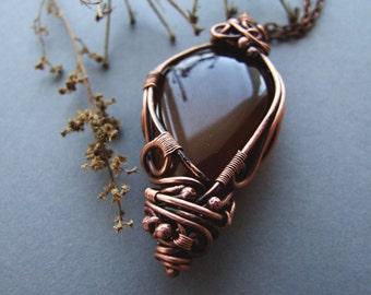 Boho Agate Necklace, Rustic Brown Retro Agate Pendant, Elvish Gemstone Jewelry, Agate Necklace